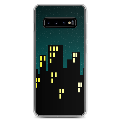 Illustration of a city skyline at night time on a samsung phone case