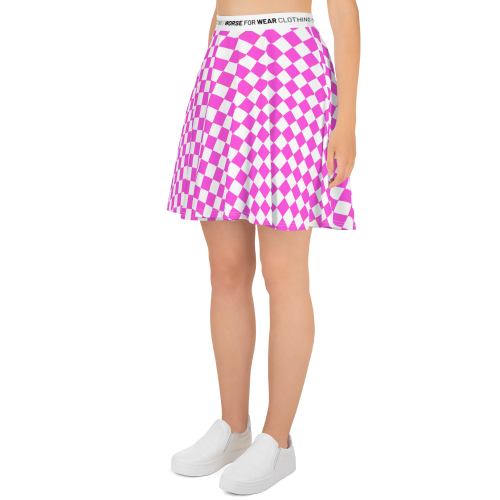 Pink and white checkered design on a skater style skirt
