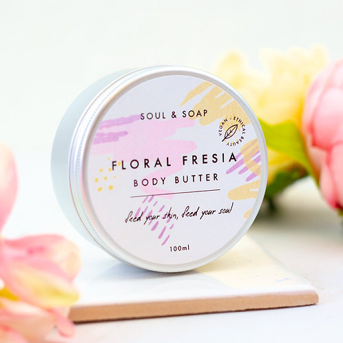 Floral Fresia Body Butter in a tin