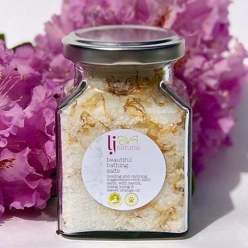 Bathing salts in a glass jar