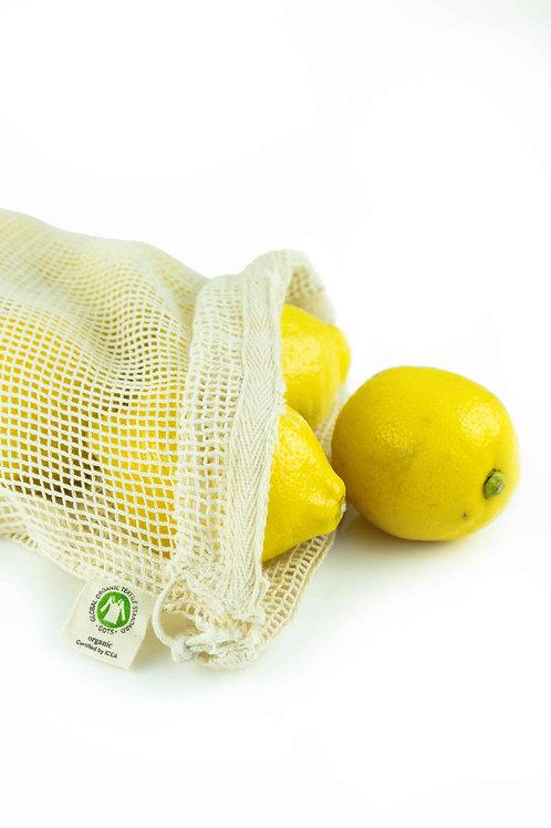 Organic mesh cotton produce bag in use