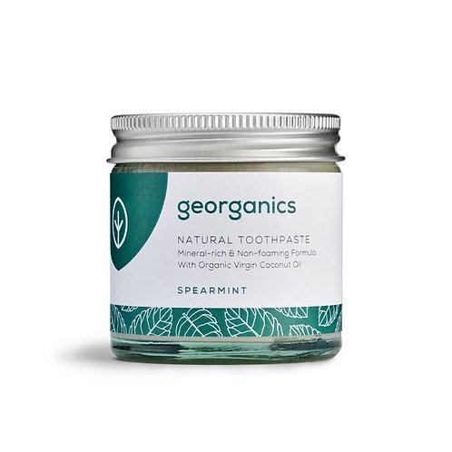 Georganics Spearmint Natural Toothpaste in a jar