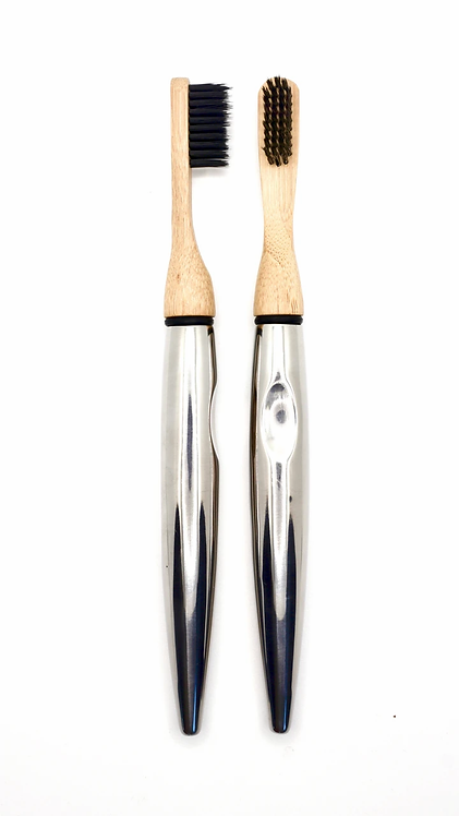 Barnaby's Brushes Polished Stainless Steel Toothbrush with Replaceable Bamboo Heads