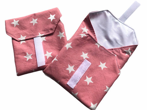 Reusable sandwich wrap pink stars