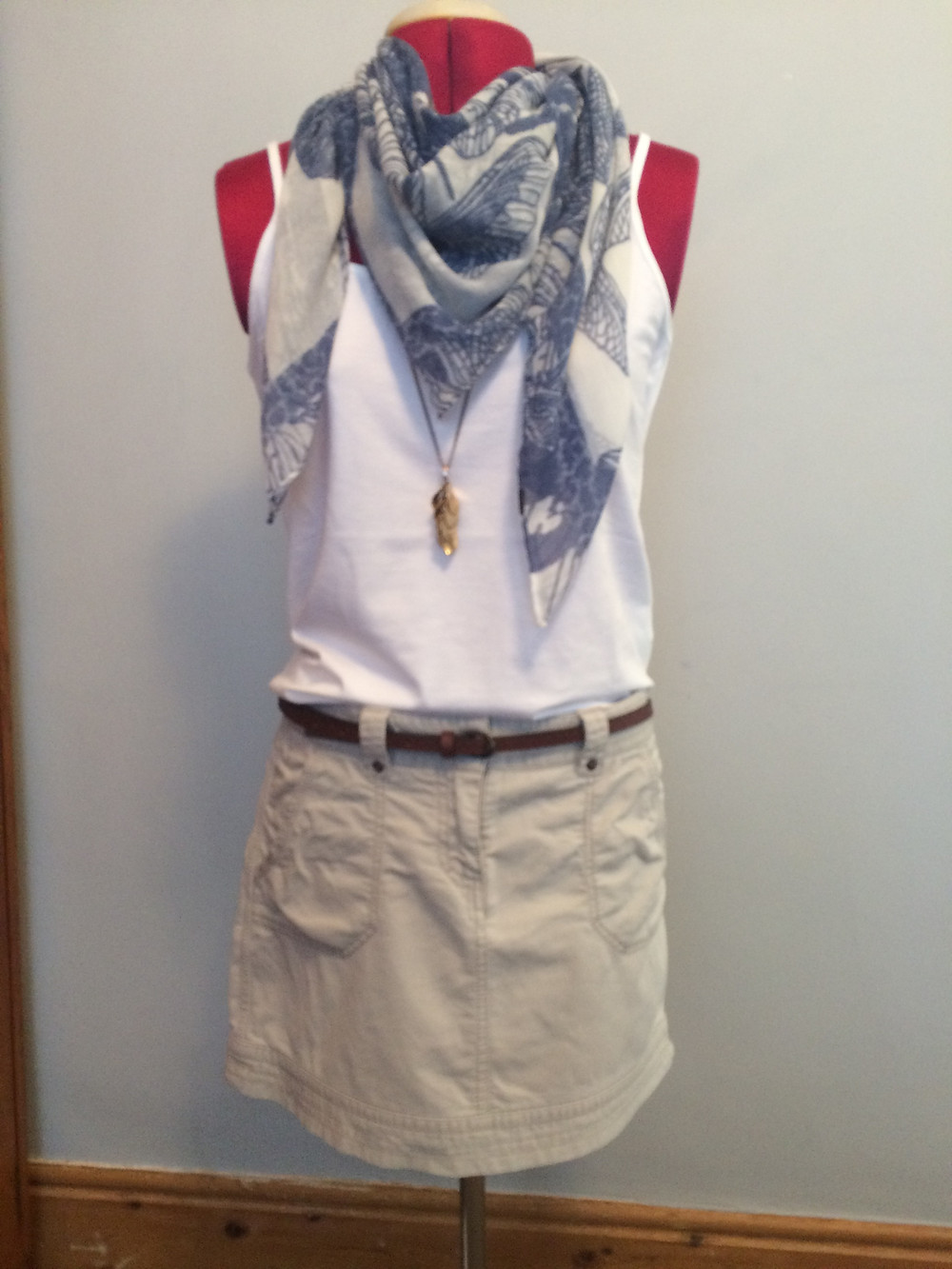 outfit, accessories, personal styling, blue and white, scarves