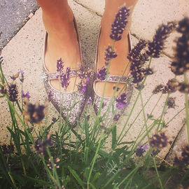 Shelley Kelly. Sparkly shoes and lavendar on a pale background