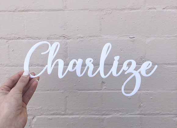 White acrylic name plaque