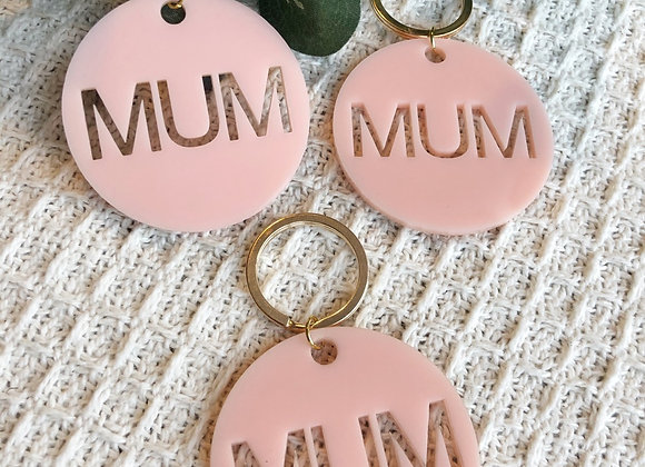 Pink and gold mum key chain