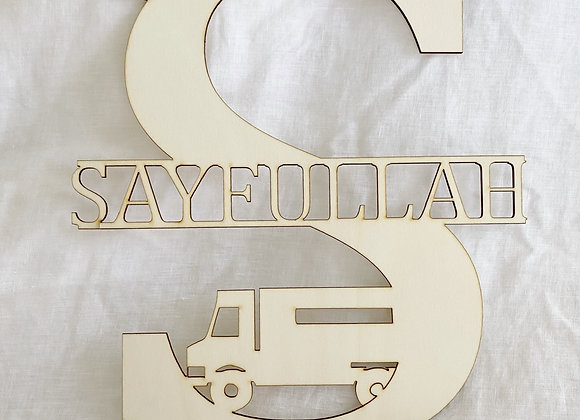 Name letter with cars