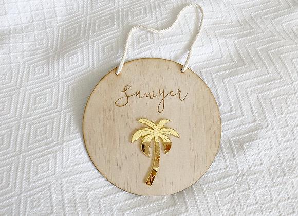 Palm tree name plaque