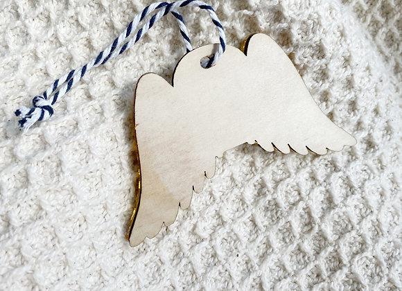 'In loving memory' wings ornament
