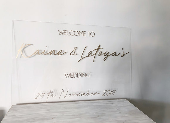 Clear acrylic event signage