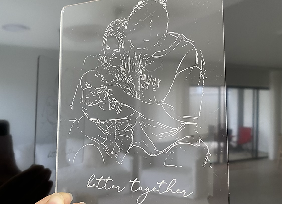 Clear photo engraved card