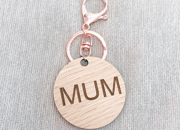 Wooden mum key chain