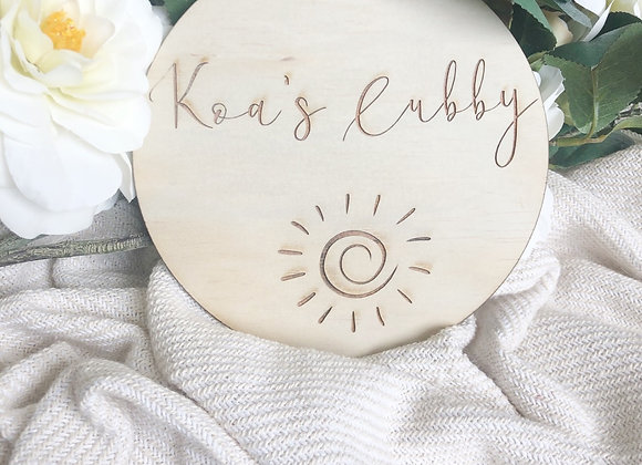 Cubby sign (sun design)