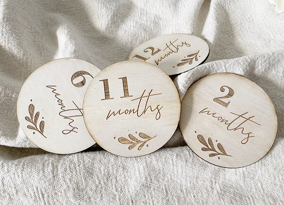 1-12 months milestone disc set (leaf design)