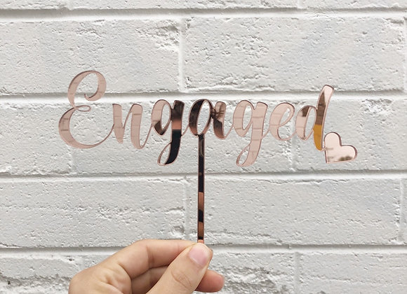 Engaged cake topper with heart