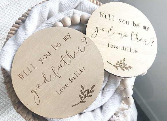 Will you be mine godmother/father plaque