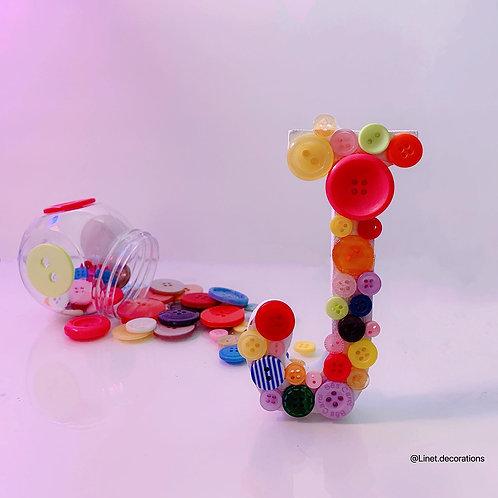 Letter J- Buttons/rainbow