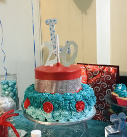 Red Meets Turquoise- Real 2-tier Cake