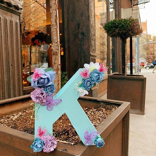 Letter K- Aqua with flowers & Butterflies