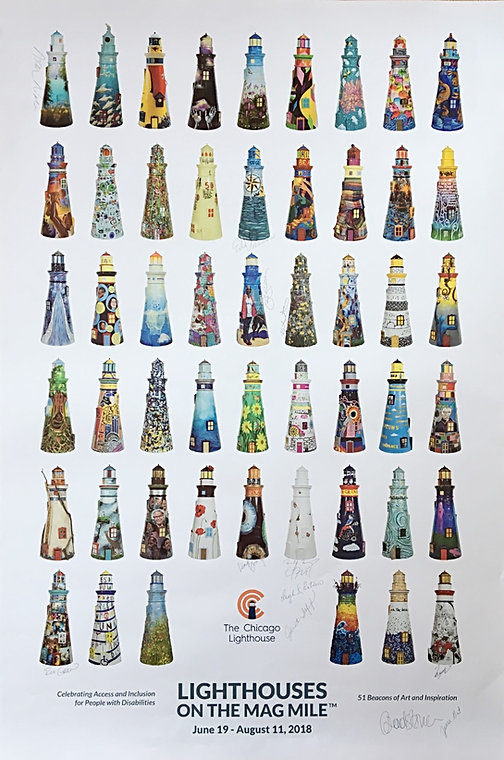 """""""Lighthouses On The Mag Mile"""" poster"""