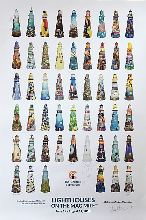"""Lighthouses On The Mag Mile"" poster"
