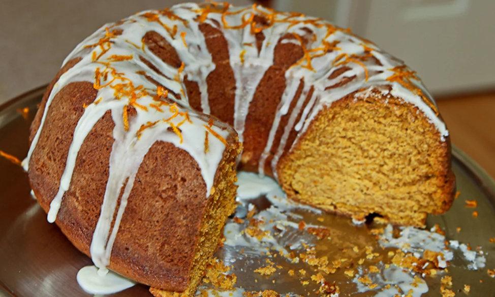 SWEET POTATO POUND CAKE WITH CREAM CHEESE ICING