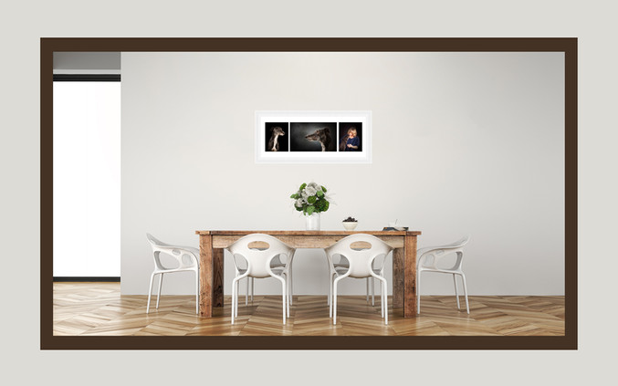 Triple aperture, panoramic frame. Three dreamy images in one statement piece.