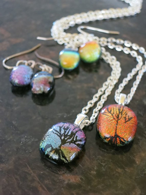 Tree Of Life Dichroic Glass Jewelry Set -Small-