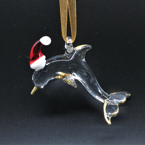 Dolphin with Santa Hat Ornament