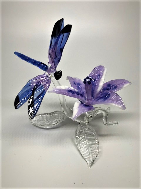 purple dragonfly w/flower