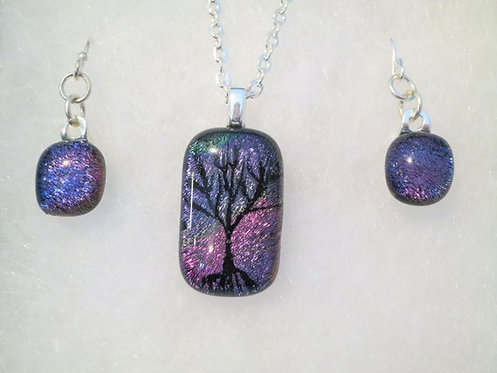 Tree Of Life Dichroic Glass Jewelry Set -Large-