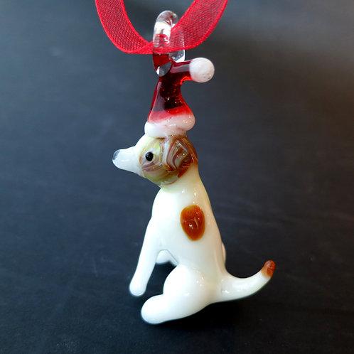 White Dog with Santa Hat Ornament