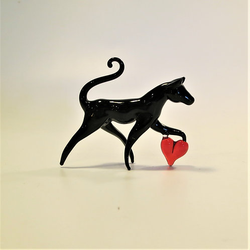 Black Cat with Red Heart