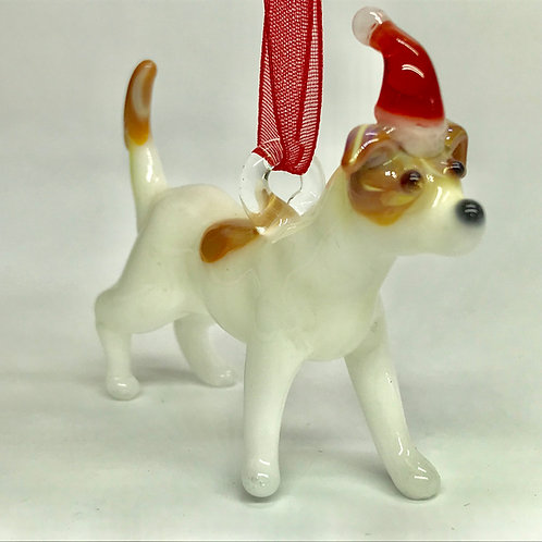 White Dog with Santa Hat Ornament
