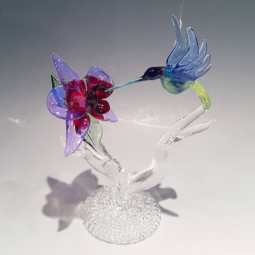 Cremation Hummingbird with Flower