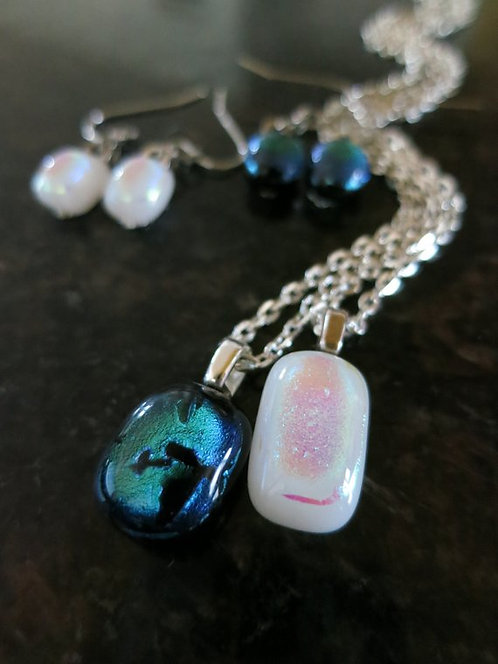 Dichroic Glass Jewelry Set -Small-