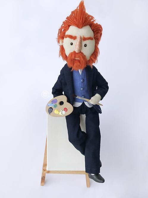 Boneco Van Gogh + Caixa Personalizada e Cavalete