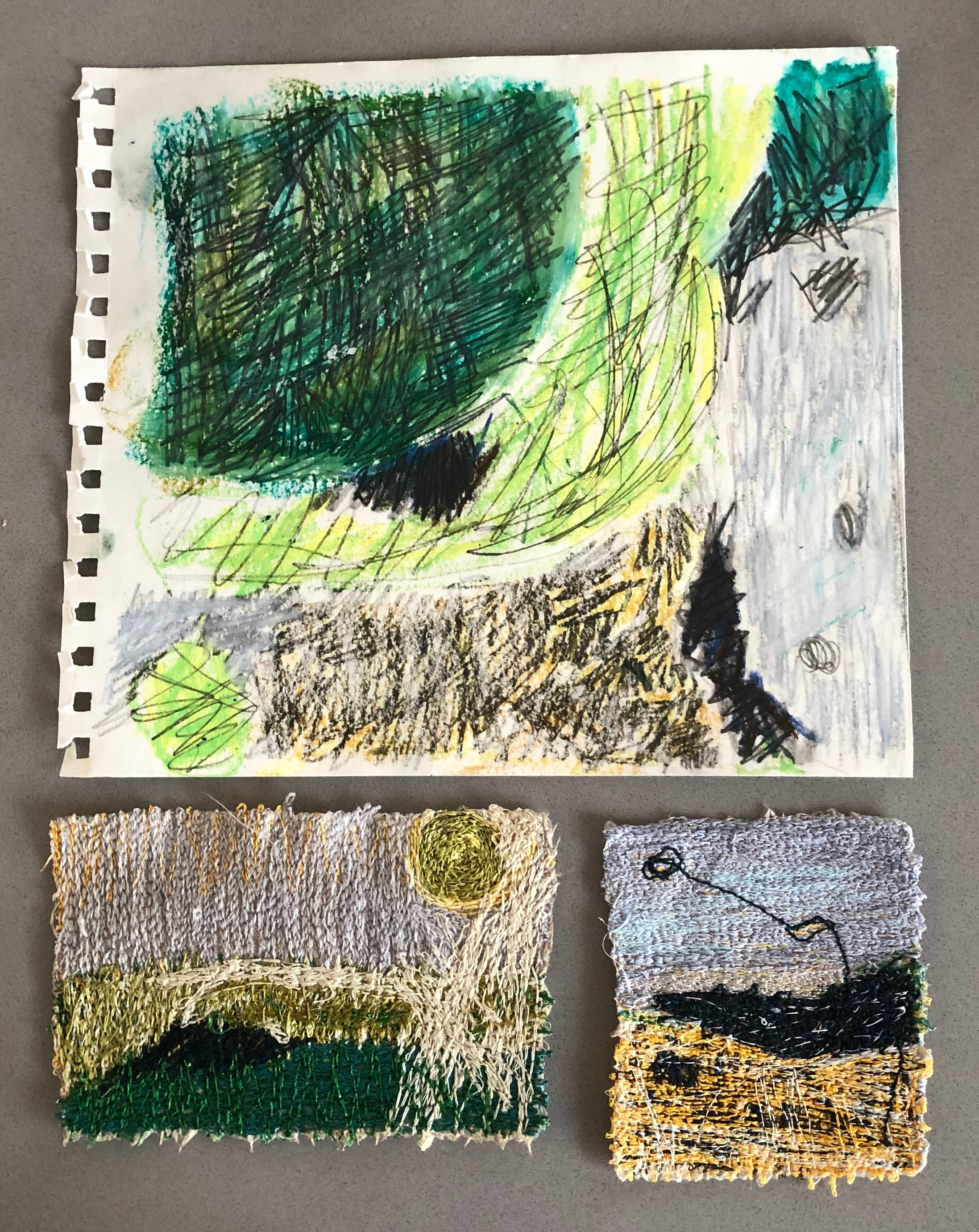 sketch and machine stitching