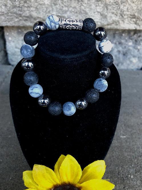 Its a Celebration! Lava, Jasper and Hematite Bracelet