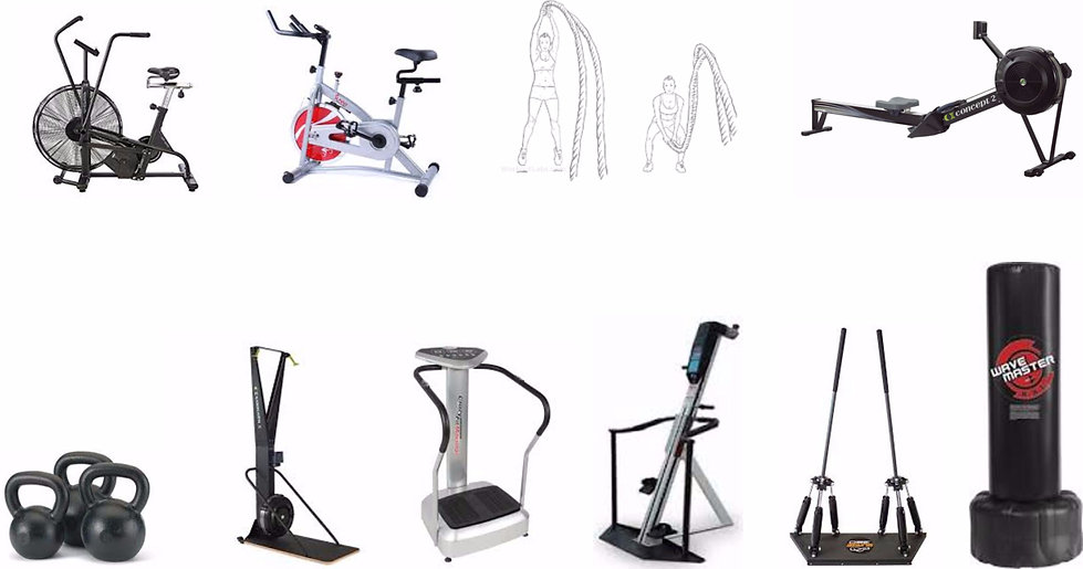 Assault Bike, Sping Bike, Spin Classes, Battle Ropes, Concept 2 Rower, Concept 2 Skierg, Kettlebells, Whole Body Vibration, Versaclimber, Surge360, Punching Bag, Cardio Classes