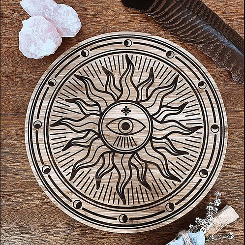 "Bamboo Crystal Grid Board ""Sun Moon 3rd Eye"""
