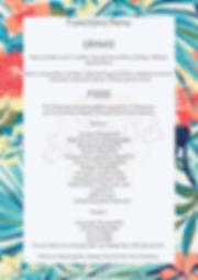 Functions menu Fitzroy Drinks packge
