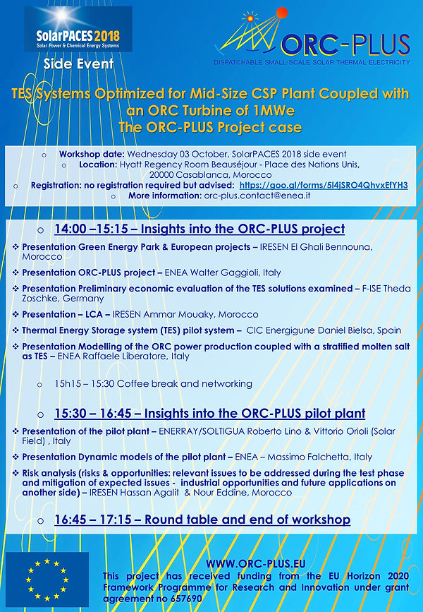 ORC-PLUS workshop - agenda - SolarPACES