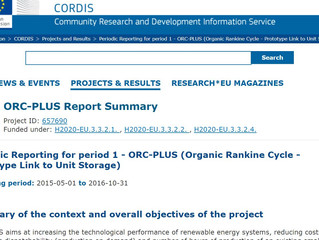 The ORC-PLUS project summary report for the periodic report 1