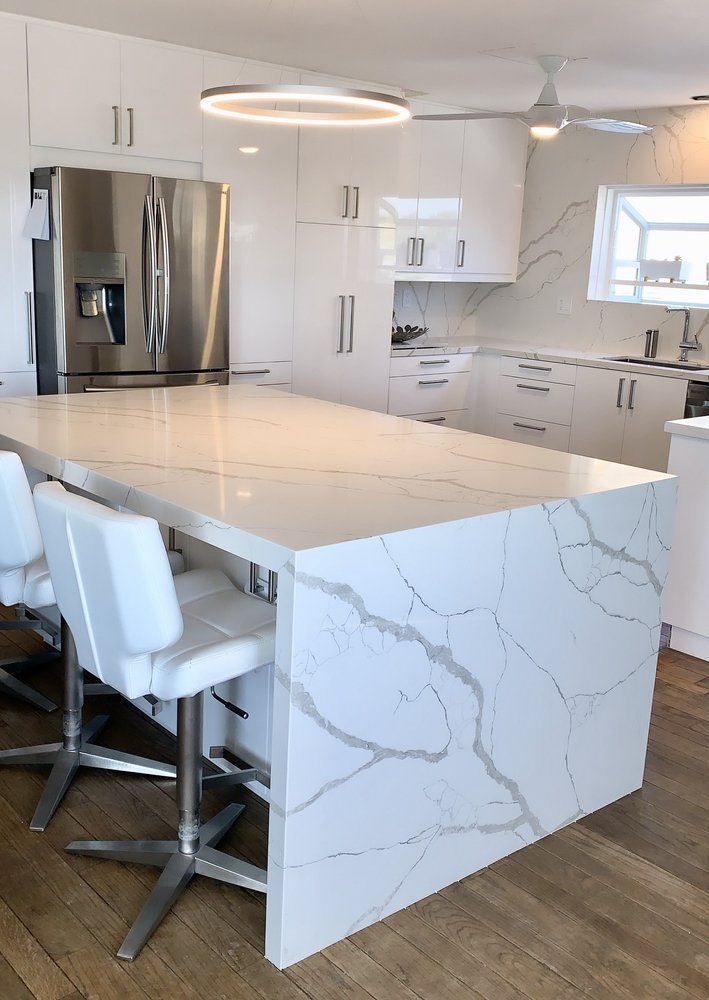 waterfall island countertop