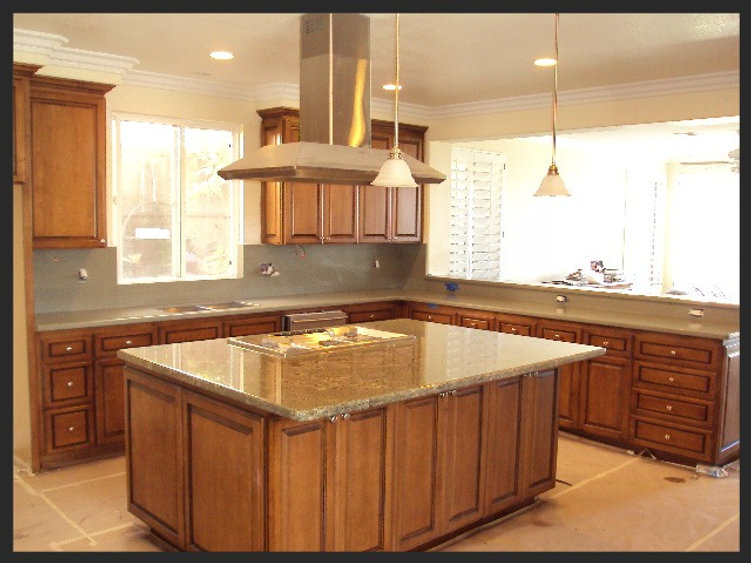 Kitchen countertops well done and finished.