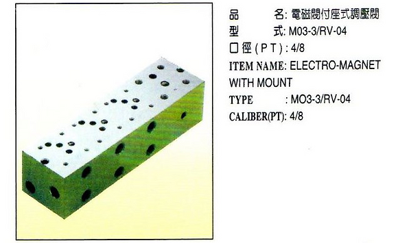 M03-3/RV-04電磁閥附座式調壓閥 Electro-magnet with mount