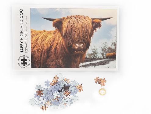 Happy Highland Coo Jigsaw - 1000 piece